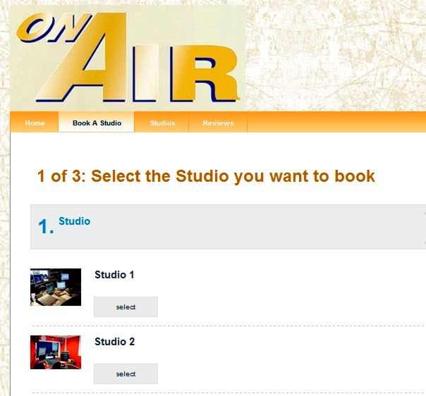 Online Studio Booking Form