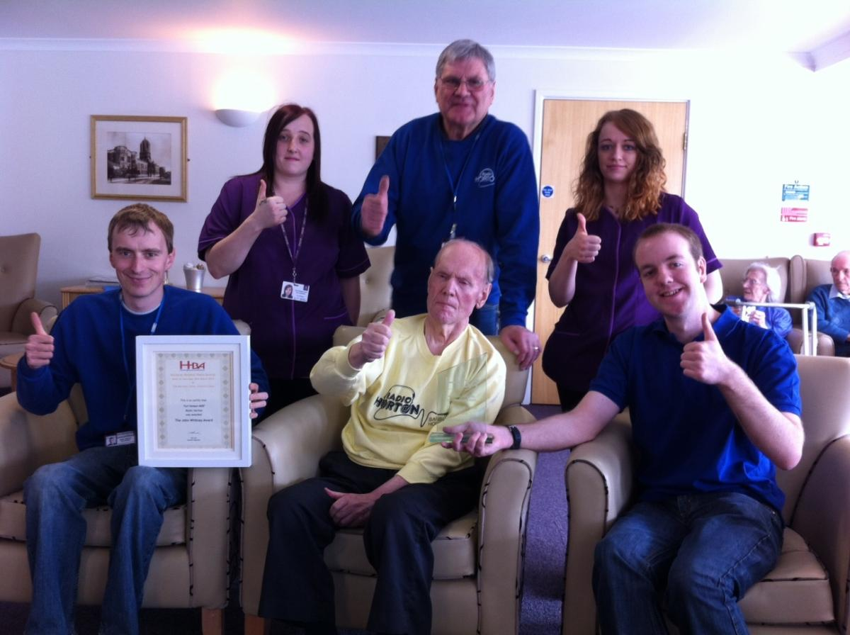 Ted Hanson MBE with Radio Horton members receiving his John Witney Award -Image Courtesy of Claire Blow, The Ridings Care Home, Banbury